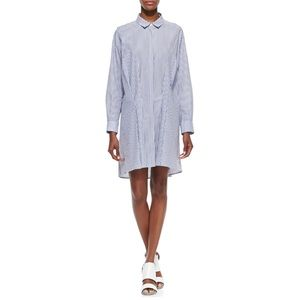 Thakoon Addition Striped Tuck-Front Shirtdress
